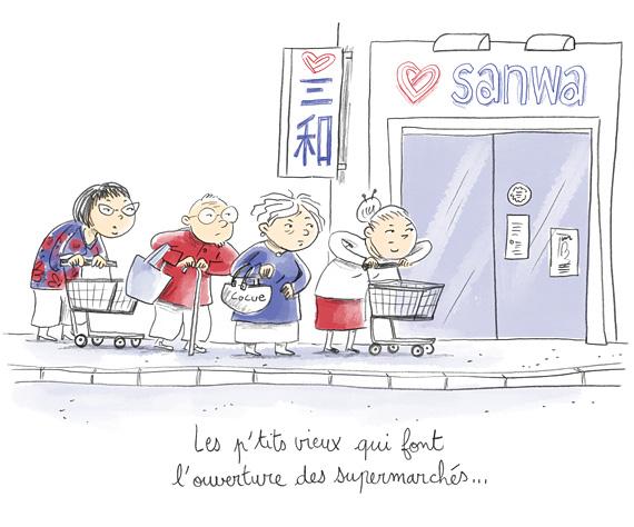 Les petits vieux qui font l'ouverture des supermarchés