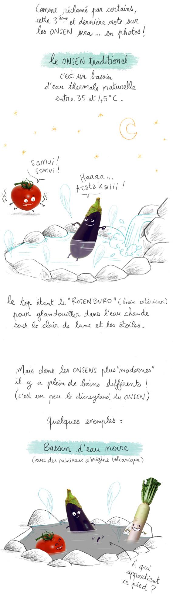 Comme reclamé par certains, cette 3eme et derniere note sur les onsen sera en photos. Le onsen traditionel est un bain d'eau thermale naturelle, entre 35°c et 45°c, le top étant le rotenburo ou bain en exterieur.