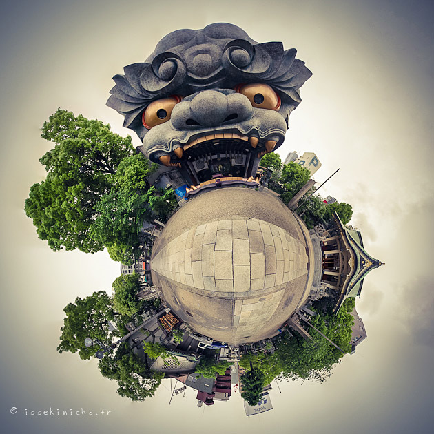 osaka, temple, namba yasaka jinja, little planet