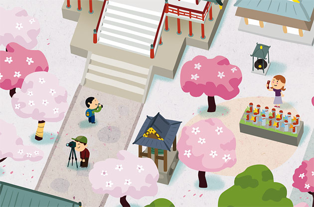 zojoji,  illustration, hanami