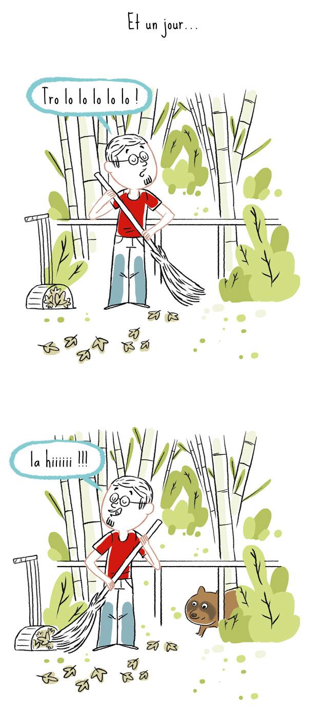 Rencontre avec un tanuki qui se balade dans le jardin de notre maison au Japon…