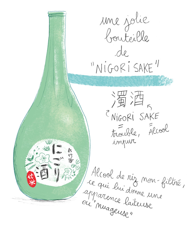 japon, nigori, sake, illustration