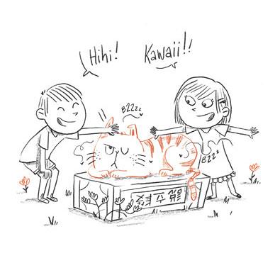 Chat-tigré et moustiques-tigres  [ extrait du livre Nekoland, une vie de chat au Japon ]