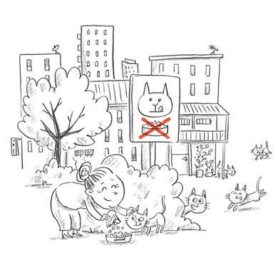Croquettes discrétes [ extrait du livre Nekoland, une vie de chat au Japon ]