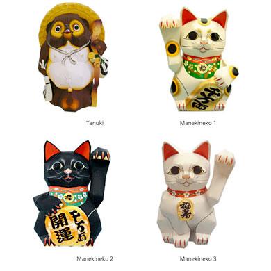 Maquettes en papier sur le thème du Japon