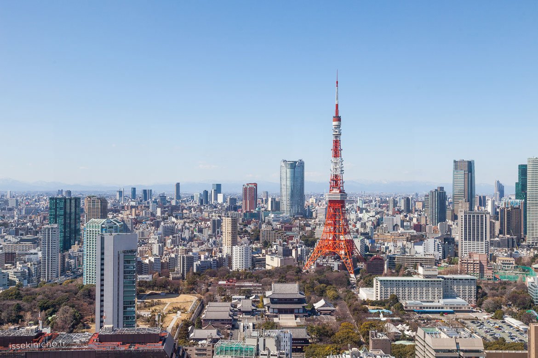 Vue panoramique de Tokyo avec tour de Tokyo et temple Zojoji