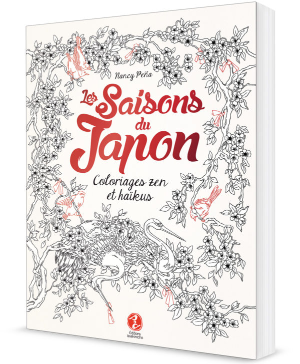 couverture d'un livre de coloriage sur les saisons du Japon